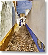 Secluded Cobblestone Street In The Medieval Village Of Obidos IIi Metal Print