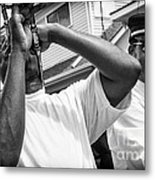 Second Line Black And White Metal Print