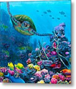 Secret Sanctuary - Hawaiian Green Sea Turtle And Reef Metal Print