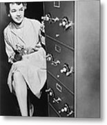 Secure Filing Cabinet Metal Print by Underwood Archives