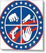 Security Cctv Camera Gun Fist Hand Circle Metal Print