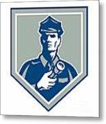 Security Guard Flashlight Shield Retro Metal Print by Aloysius Patrimonio
