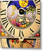 Seed Planting Clock Metal Print