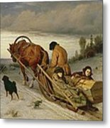 Seeing Off The Dead, 1865 Oil On Canvas Metal Print