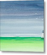 Seeking Refuge Before The Storm Alligator Reef Lighthouse Metal Print
