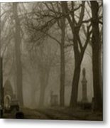 A Graveyard Seeped In Fog Metal Print