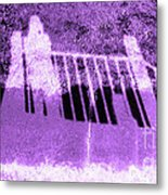 Self Portrait In Lavender Looking Down Over The Rails Metal Print