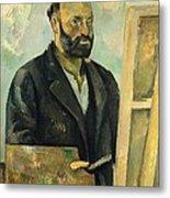Self Portrait With Palette Metal Print by Paul Cezanne