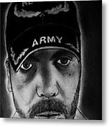 Self Portrait With Us Army Retired Cap Metal Print