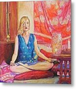Self Portriat Meditating With Tarot Metal Print