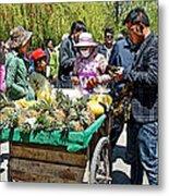 Selling Fresh Pineapple On Street In Lhasa-tibet    Metal Print