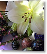 Send The Light Lily With Marbles Metal Print