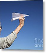 Senior Woman With Paper Plane Metal Print by Konstantin Sutyagin
