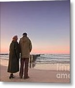 Seniors' Love And Ocean Metal Print
