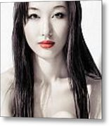 Sensual Artistic Beauty Portrait Of Young Asian Woman Face Metal Print
