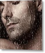 Sensual Portrait Of Man Face Under Pouring Water Metal Print