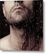 Sensual Portrait Of Man Face Under Shower Metal Print