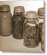 Sephia Vintage Kitchen Glass Jar Canning Metal Print