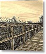 Sepia Boardwalk Metal Print