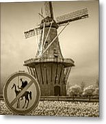 Sepia Colored No Tilting At Windmills Metal Print