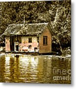 Sepia Floating House Metal Print