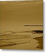 Sepia Lighthouse Metal Print