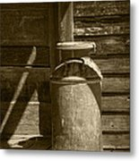 Sepia Photograph Of Vintage Creamery Can By The Old Homestead In 1880 Town Metal Print