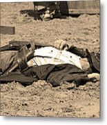 Sepia Rodeo Gunslinger Victim Metal Print