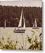 Sepia Sailing Metal Print