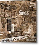 Sepia Toned Signs Of Coca Cola Metal Print