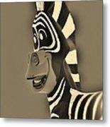 Sepia Zebra Metal Print