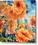 September Orange Poppies            Metal Print by Kathy Braud