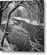 Serene Winter Stream Metal Print