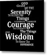 Serenity Prayer 5 - Simple Black And White Metal Print