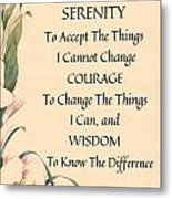 Serenity Prayer Typography On Calla Lilly Watercolor Metal Print