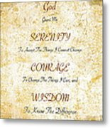 Serenity Prayer With Flowers And Butterflies Metal Print