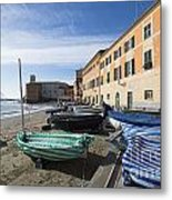 Sestri Levante And Boats Metal Print