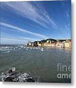 Sestri Levante With Blue Sky And Clouds Metal Print