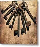 Set Of Old Rusty Keys On The Metal Surface Metal Print