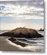 Setting Sun Against Rocks Near San Francisco Ca Cliff House Metal Print