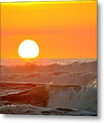 Setting Sun And Crashing Waves Metal Print