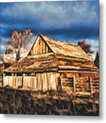 Setting Sun Gathering Storm And Old Homestead Metal Print