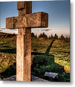 Setting Sun On A Cross By The Trenches Metal Print