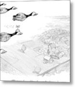 Several Geese Fly In A V-formation Metal Print