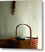 Sewing Basket In Sunlight Metal Print