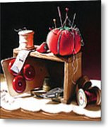 Sewing Box In Reds Metal Print by Dianna Ponting