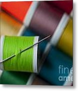 Sewing Needle With Bright Colored Spools Metal Print