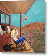 Sexy Cowgirl Sitting On A Chair At High Noon Metal Print