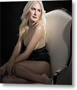 Sexy Fine Art Blond Girl In Chair 1285.02 Metal Print