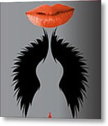 Sexy Lady Bird Lips Red White Black Expressions Metal Print